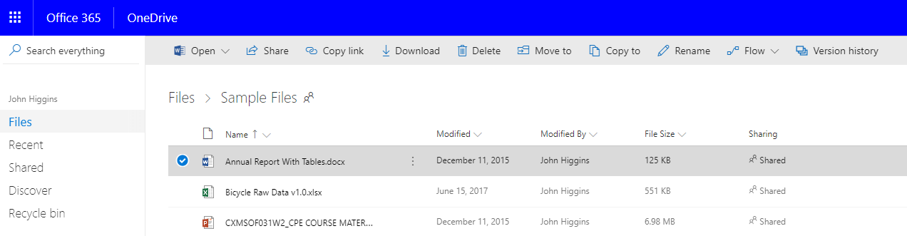 Microsoft One Drive Files